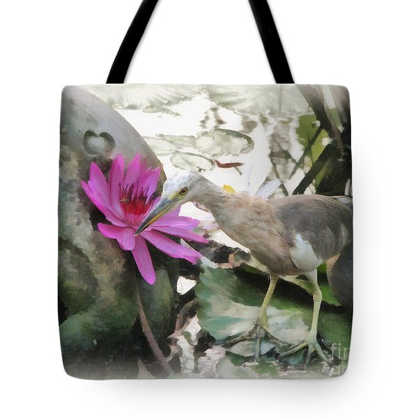 Tote Bag featuring the painting Little Egret by Sergey Lukashin