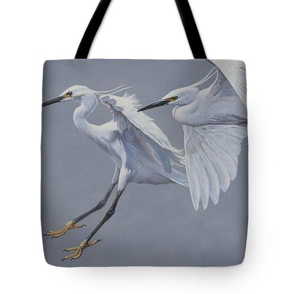 Little Egrets In Flight Tote Bag