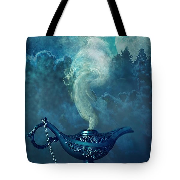 Little Genie Lamp With Smoke Tote Bag by Sandra Cunningham