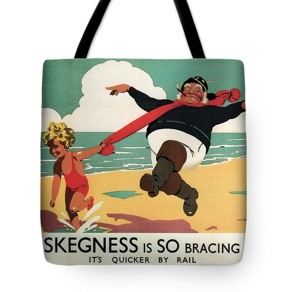 Little Girl And Old Man Playing On The Beach In Skegness, Lincolnshire - Vintage Advertising Poster Tote Bag