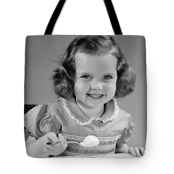 Little Girl Eating Ice Cream, C.1950s Tote Bag