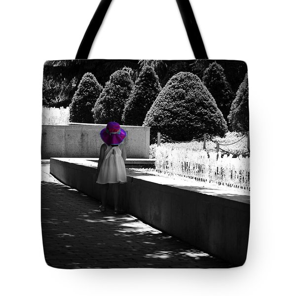 Little Girl In Magenta Hat Black And White Selective Color Tote Bag