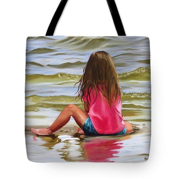 Little Girl In The Sand Tote Bag