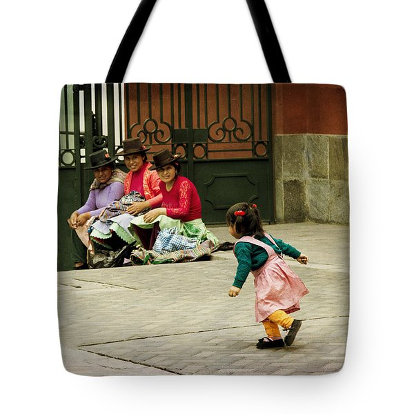 Little Girl On The Streets Of Lima, Peru Tote Bag
