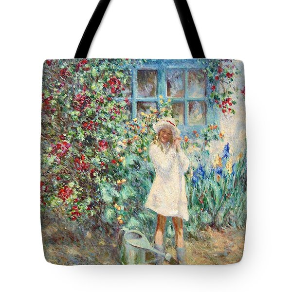 Little Girl With Roses  Tote Bag by Pierre Van Dijk