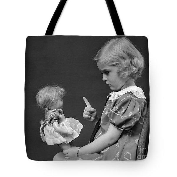 Little Girl Scolding Doll, C.1930s Tote Bag