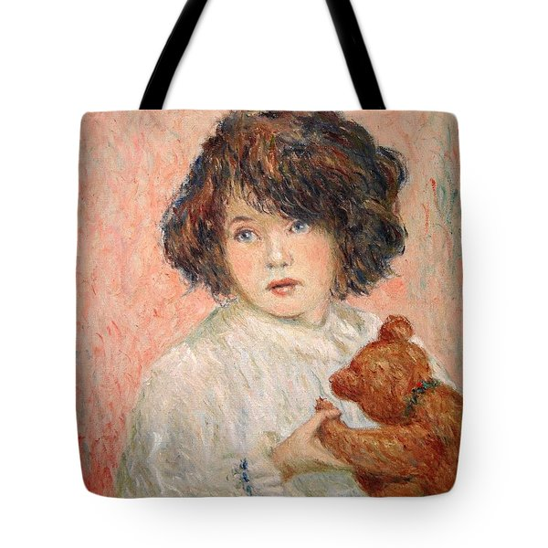 Little Girl With Bear Tote Bag