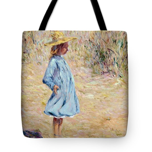 Little Girl With Blue Dress Tote Bag
