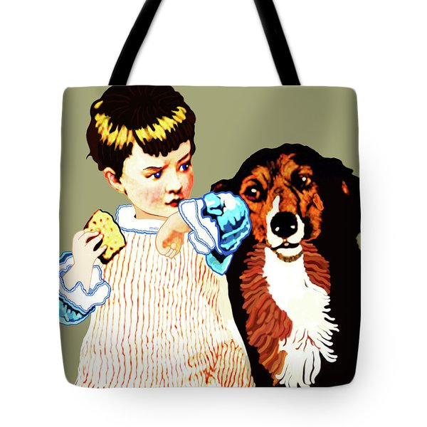 Little Girl With Hungry Mutt Tote Bag