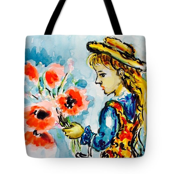 Little Girl With Poppies Tote Bag