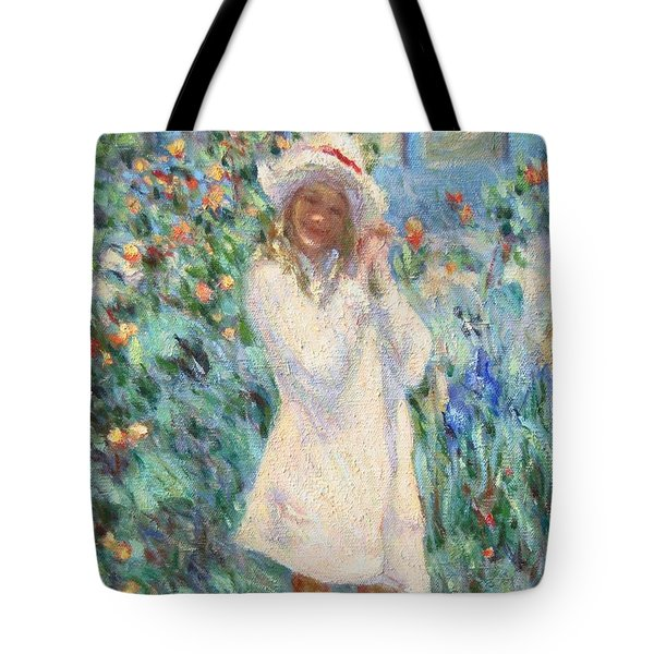 Little Girl With Roses / Detail Tote Bag by Pierre Van Dijk