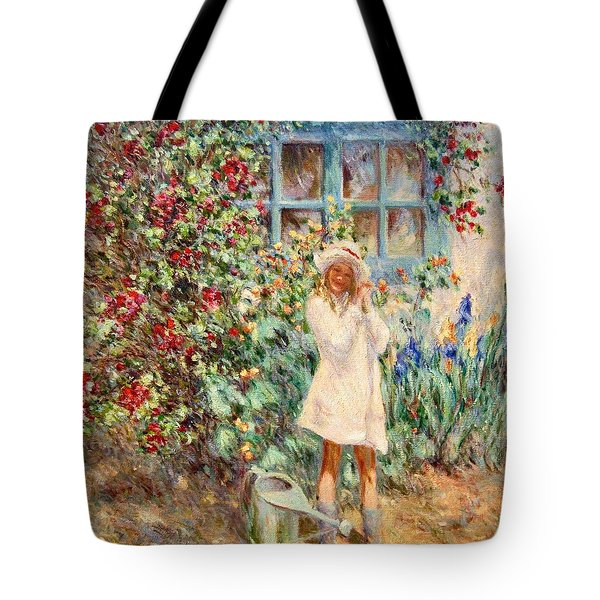 Little Girl With Roses  Tote Bag