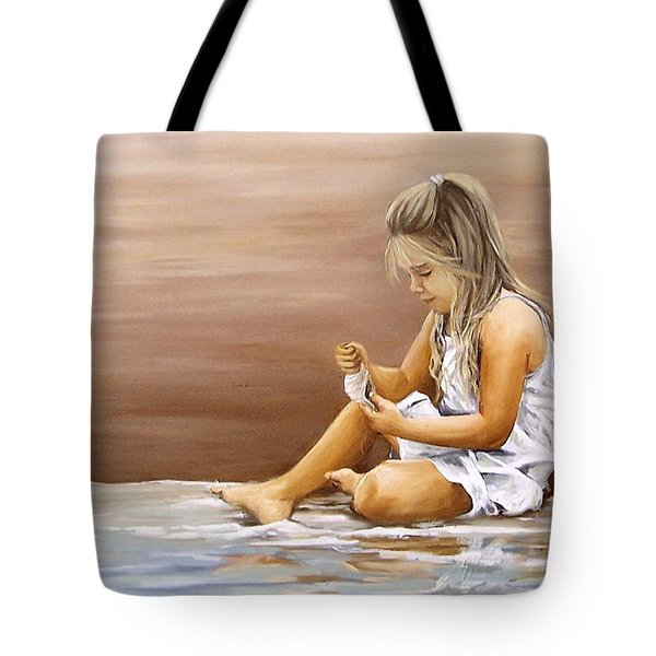 Tote Bag featuring the painting Little Girl With Sea Shell by Natalia Tejera