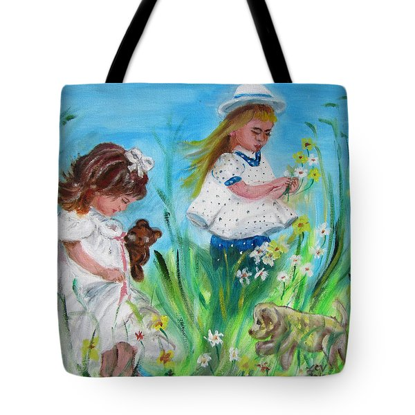 Little Girls Picking Flowers Tote Bag