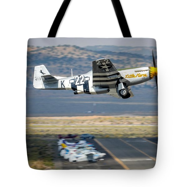Tote Bag featuring the photograph P51 Mustang Little Horse Gear Coming Up Friday At Reno Air Races 5x7 Aspect Signature Edition by John King