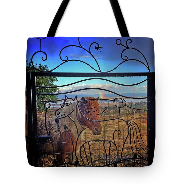 Tote Bag featuring the painting Little Horse Little Rainbow by Marti McGinnis