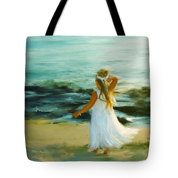 Little Lady At The Beach Tote Bag