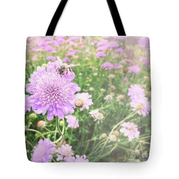 Tote Bag featuring the photograph Little Lady On Scabiosa by Cindy Garber Iverson