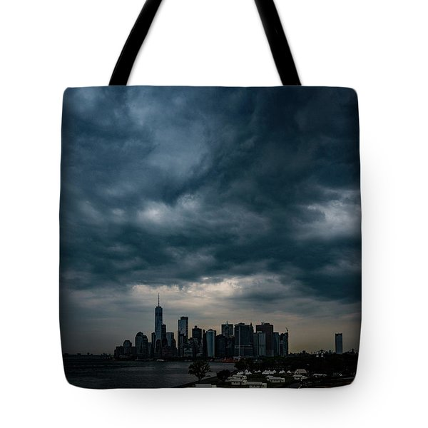 Tote Bag featuring the photograph Little Manhattan Under A Cloud by Chris Lord