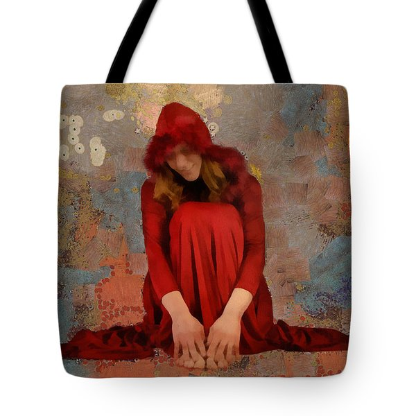 Tote Bag featuring the mixed media Little Mel Riding Hood by Trish Tritz