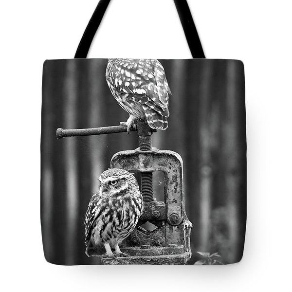 Little Owls Black And White Tote Bag