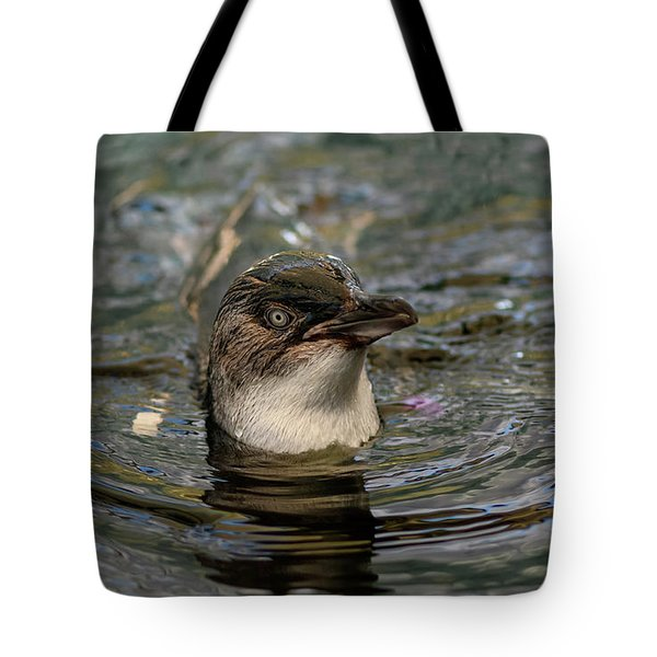 Little Penguin In The Water Tote Bag
