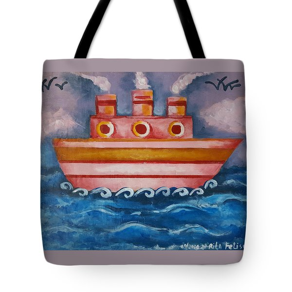 Little Pink Ship Tote Bag by Rita Fetisov