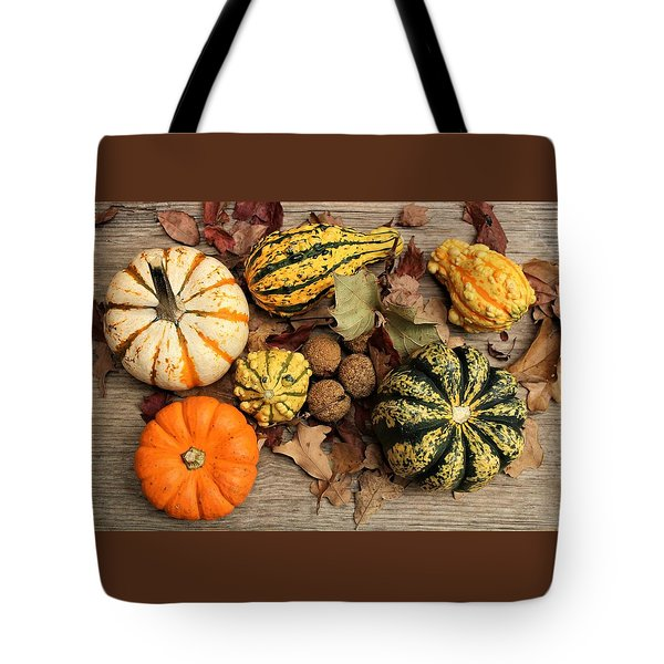 Tote Bag featuring the photograph Little Pumpkins Fall Decor by Sheila Brown