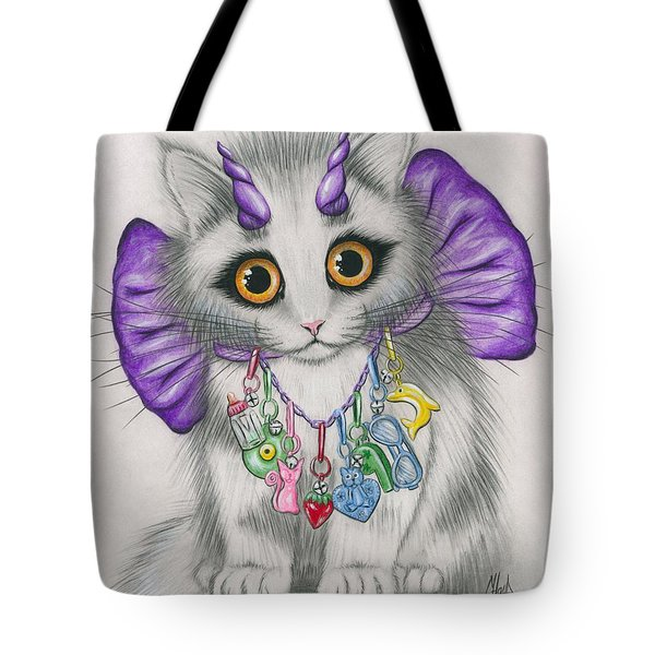 Little Purple Horns - 1980s Cute Devil Kitten Tote Bag