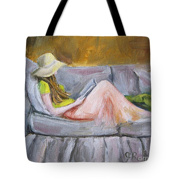 Tote Bag featuring the painting Little Reader by Jennifer Beaudet