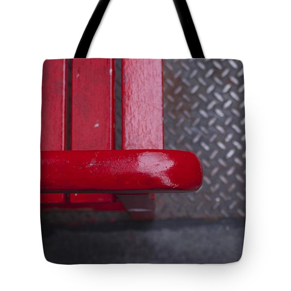 Little Red Bench Tote Bag