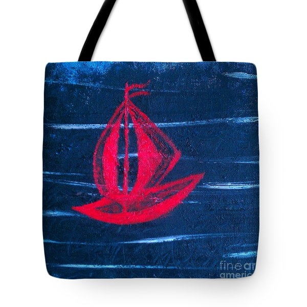 Tote Bag featuring the painting Little Red Boat  by Jacqueline McReynolds