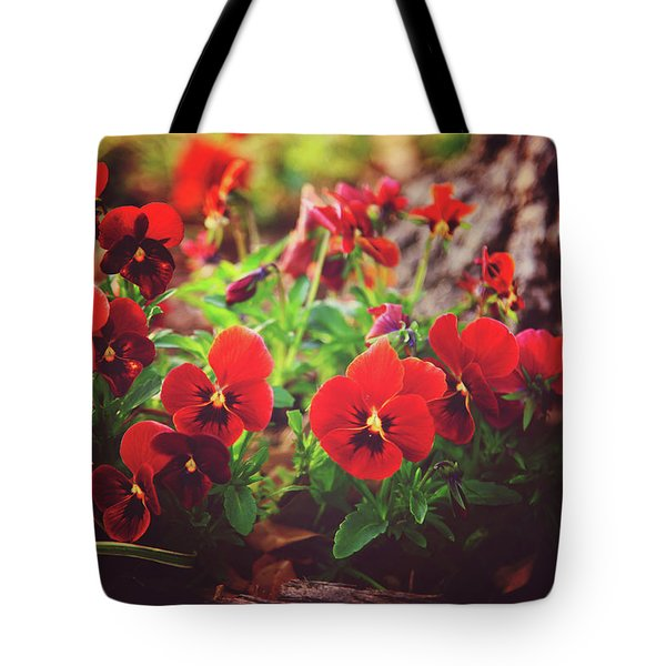 Tote Bag featuring the photograph Little Red Pansies by Toni Hopper