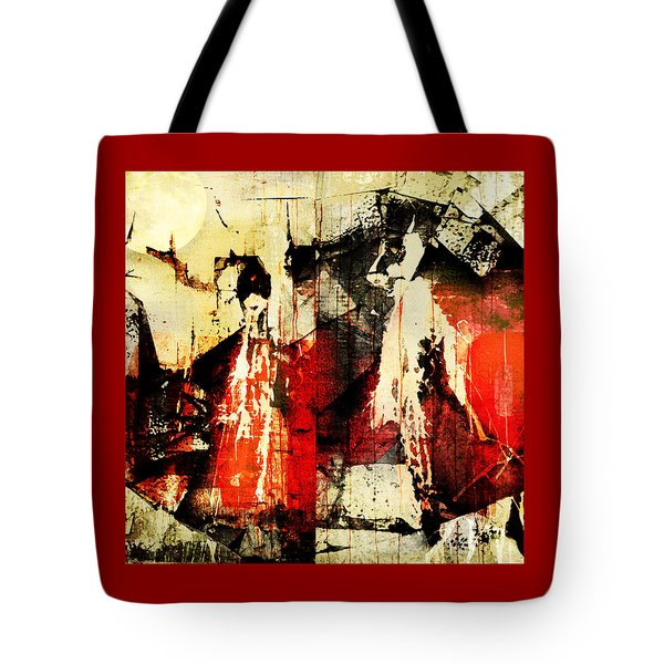 Little Red Riding Hood And The Big Bad Wolf Under A Yellow Moon Tote Bag by Jeff Burgess