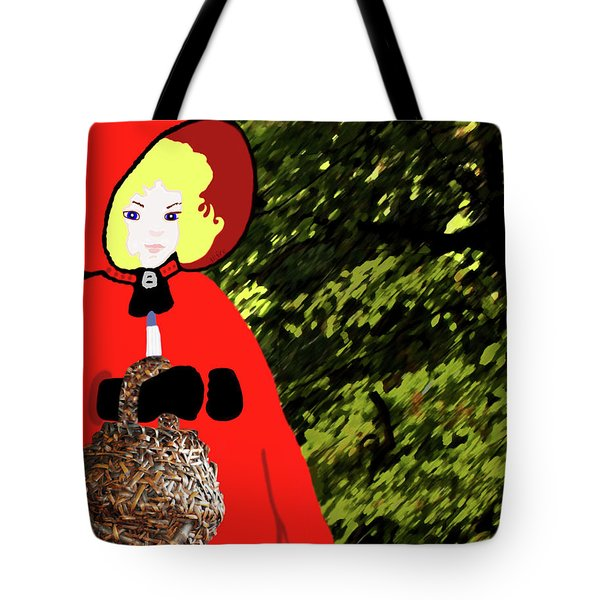 Little Red Riding Hood In The Forest Tote Bag by Marian Cates