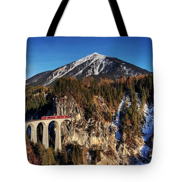 Tote Bag featuring the photograph Little Red Train In The Swiss Alps by Peter Thoeny