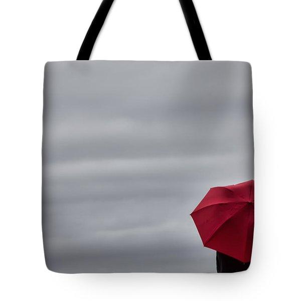 Little Red Umbrella In A Big Universe Tote Bag