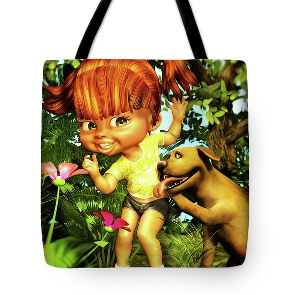Little Redhead And Her Dog Tote Bag