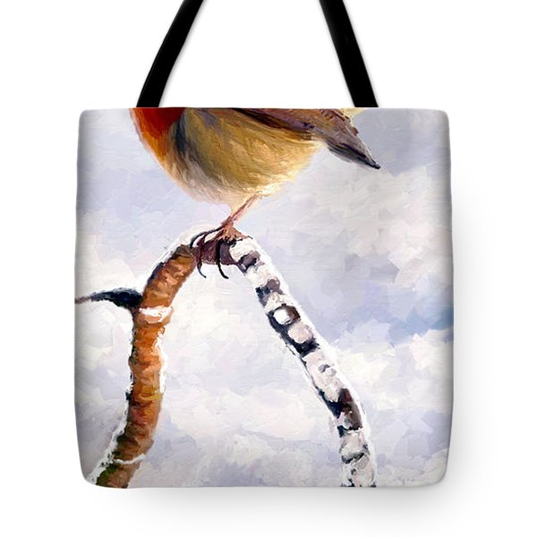 Tote Bag featuring the painting Little Robin Redbreast by James Shepherd