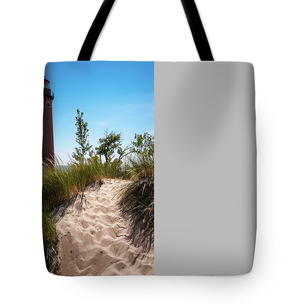 Little Sable Light Station - Film Scan Tote Bag by Larry Carr