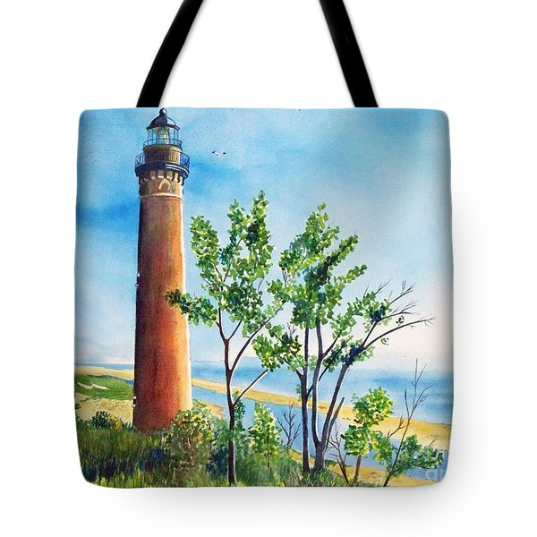 Little Sable Point Lighthouse Tote Bag by LeAnne Sowa