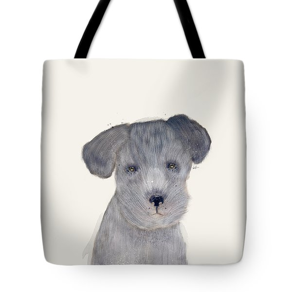 Tote Bag featuring the painting Little Schnauzer by Bri B