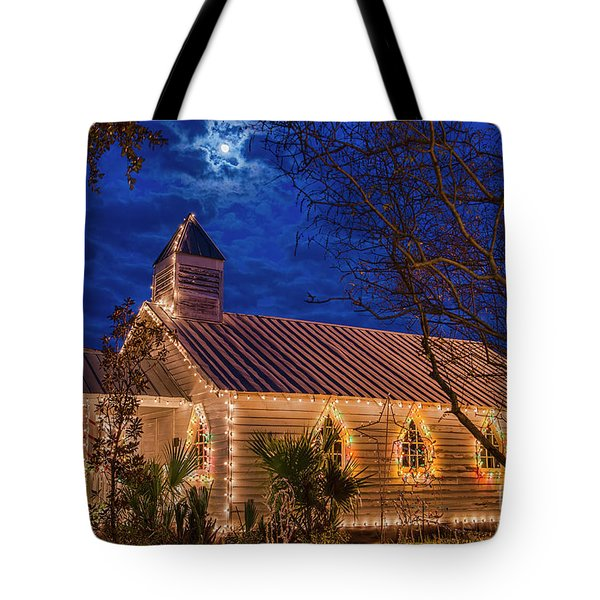 Tote Bag featuring the photograph Little Village Church With Star From Heaven Above The Steeple by Bonnie Barry