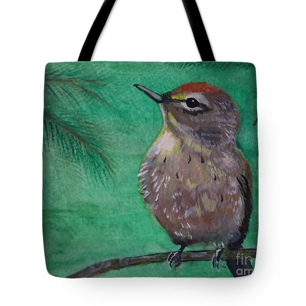 Tote Bag featuring the painting Little Warbler by Leslie Allen