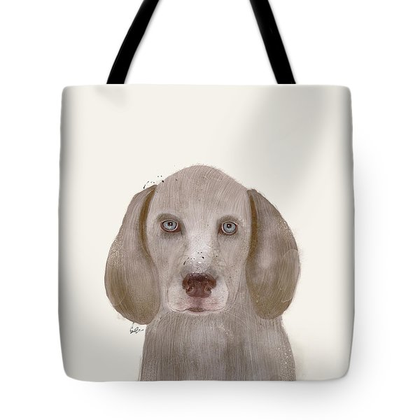 Tote Bag featuring the painting little Weimaraner by Bri B