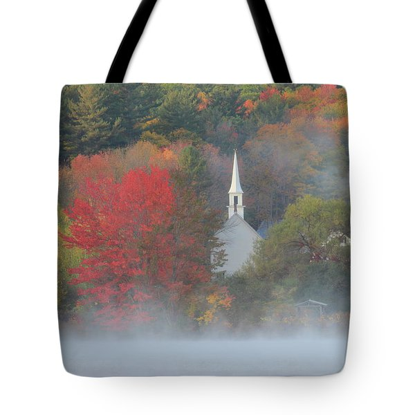 Little White Church Autumn Fog Tote Bag by John Burk