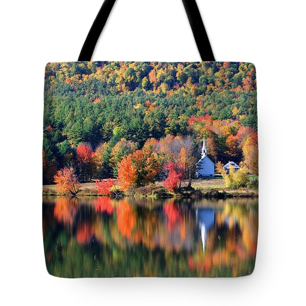 Tote Bag featuring the photograph 'little White Church', Eaton, Nh	 by Larry Landolfi