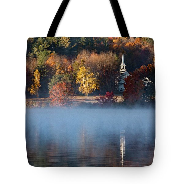 Tote Bag featuring the photograph Little White Church On Crystal Lake by Jeff Folger