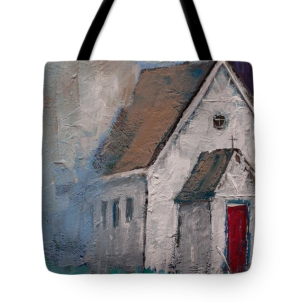 Little White Church On The Corner Christian Painting  Tote Bag