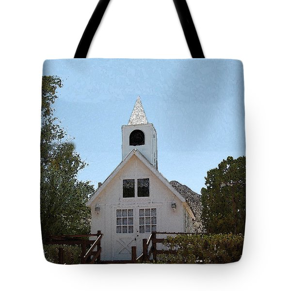 Tote Bag featuring the digital art Little White Church by Walter Chamberlain